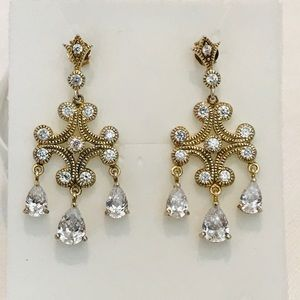 Gold Sterling chandelier sparkling CZ earrings.